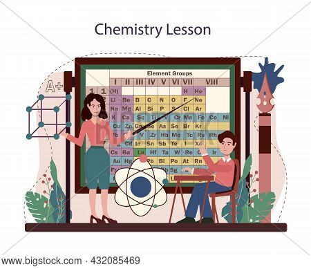 Chemistry School Lesson. Student Learning Chemical Formula