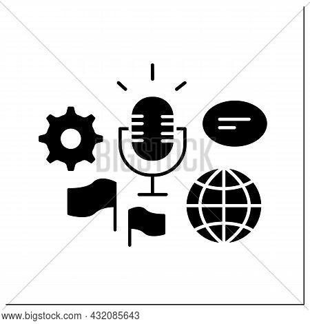 Global Forum Glyph Icon. Representing New Business Ideas On International Forum. Communication And D