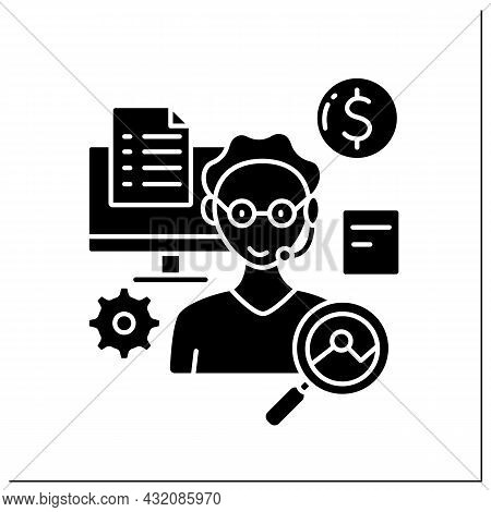 Virtual Assistant Glyph Icon.independent Contractor. Provides Administrative Services To Clients. An