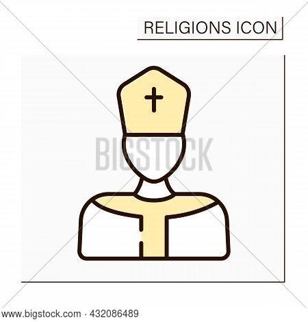 Pope Color Icon. Supreme Pontiff. Head Of Worldwide Catholic Church. Leader In Catholicism. Religion