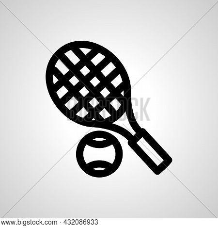 Tennis Racquet Vector Line Icon. Tennis Racquet Linear Outline Icon