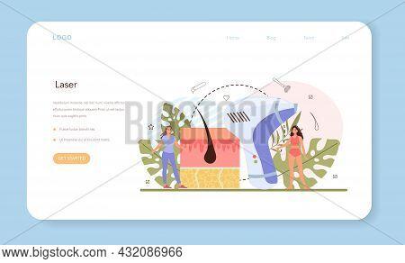 Epilation Web Banner Or Landing Page. Modern Hair Removal Method.