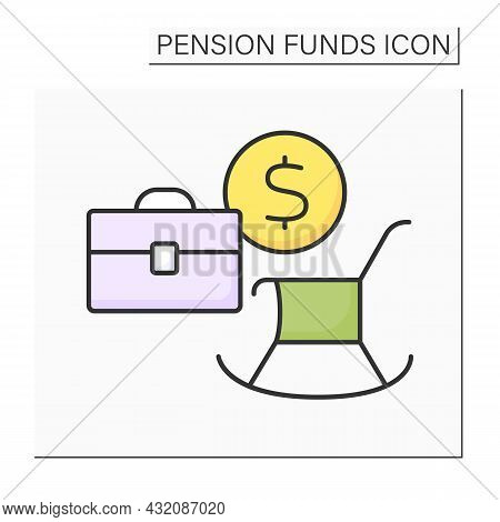Employment Based Pension Color Icon. Saving For Retirement Through Contributions Deducted Direct Fro