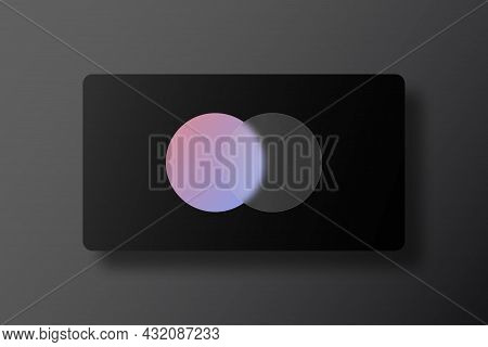 Business Card Design With Glassmorphism Effect. Transparent Glass Plate On Gradient Circle At Black