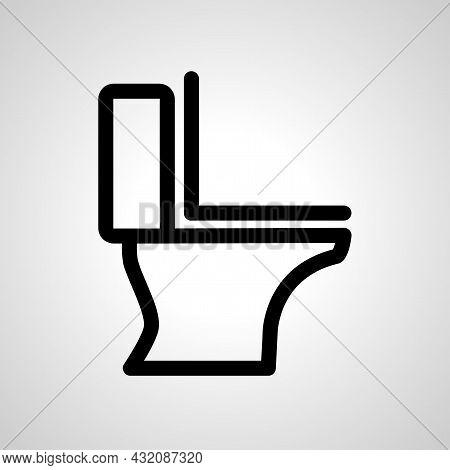 Toilet Vector Line Icon. Toilet Linear Outline Icon