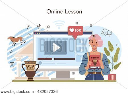History Lesson Online Service Or Platform. History School Subject