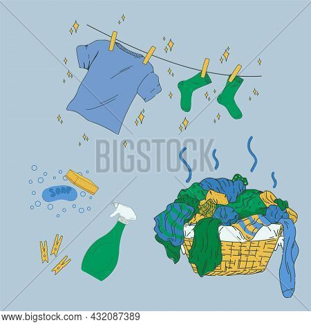 A Set Of Pictures For The Laundry. Cartoon Basket With Dirty Laundry. T-shirt, Clean Socks. Powders,