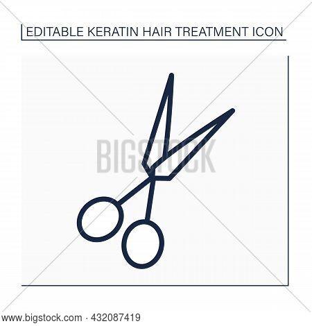 Scissors Line Icon. Hair-cutting Shears. Tool For Cutting Hair. Barber Shears, Hairdressing Shears.