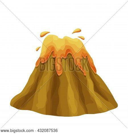 Volcano Eruption With Magma In Cartoon Style Isolated On White Background. Volcanic Activity Hot Lav