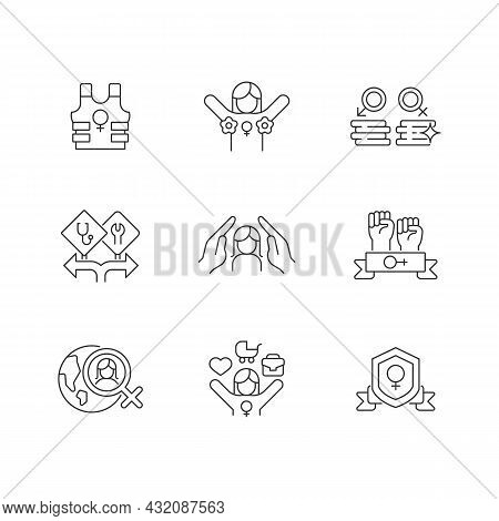 Feminist Activity Linear Icons Set. Female Freedom Fighter. Radical Feminism. Equal Pay For Work. Cu