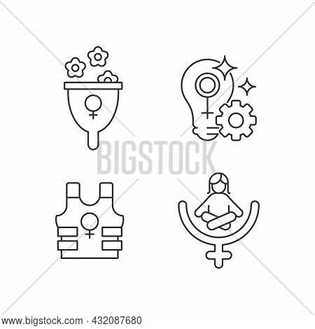 Modern Feminism Linear Icons Set. Support Women Wellbeing. Fulfill Female Potential. Women Empowerme