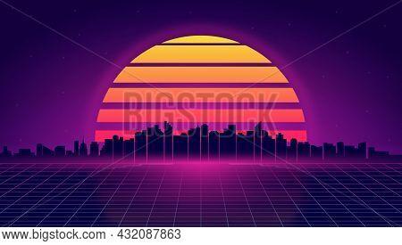 Retro Futuristic Night Cityscape. Retrowave And Synthwave Style Illustration Of Night City Skyline.