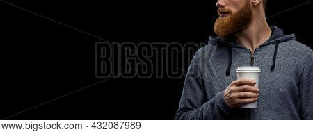 Croped Portrait Of Bearded Guy Drinking Coffee To Go. Copy Space On Left. Bearded Guy Portrait Holdi