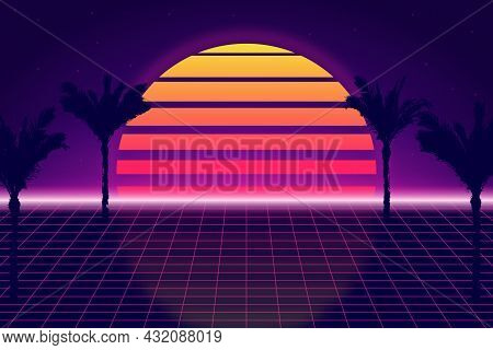 Retro Futuristic Background With Sky And Palm Trees. Retrowave And Synthwave Style Illustration Of T