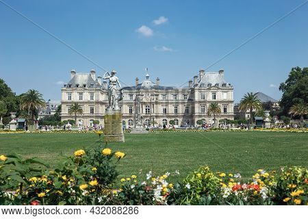 July 12, 2018. France. Luxembourg Palace and park in Paris, the Jardin du Luxembourg, one of the most beautiful gardens in Paris.