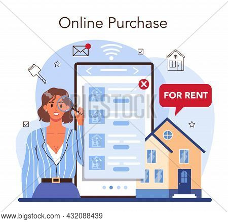 Real Estate Agency Online Service Or Platform. Realtor Or Broker