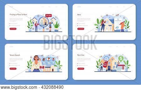 Real Estate Agency Service Web Banner Or Landing Page Set. Qualified Realtor