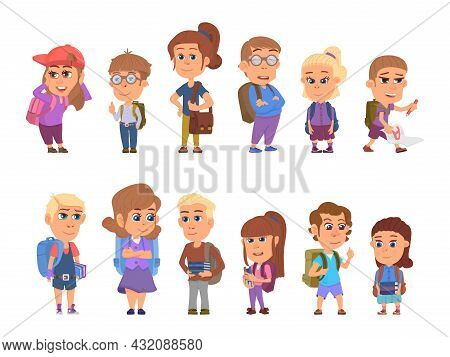 Back To School Characters. Happy Kids, Student With Books And Backpack. Isolated Cartoon Teens, Youn