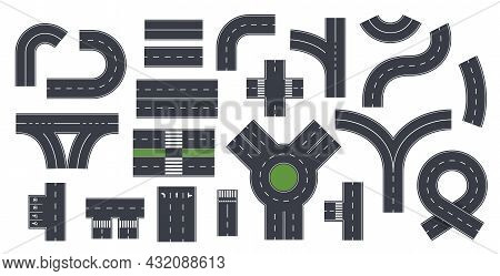 Isolated Roads Elements. Highway Lane, Asphalt Road With Crosswalk. Roadside, Top View City Map Way