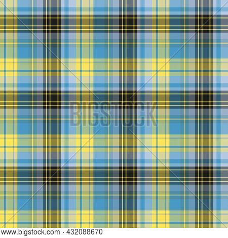 Seamless Pattern In Yellow, Black And Blue Colors For Plaid, Fabric, Textile, Clothes, Tablecloth An