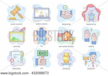 Auction Business Concept Flat Icons Set. Bundle Of Online Or Public Auction, Painting Lot, Bargainin
