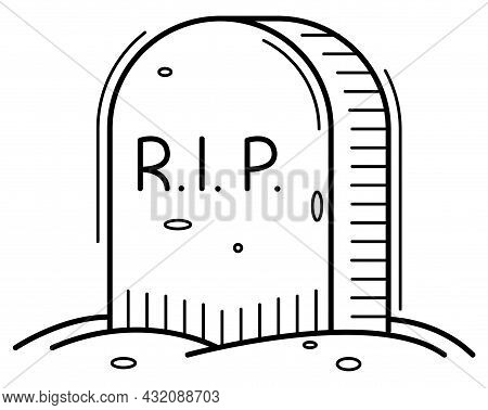 Gravestone In Linear Style Icon For Halloween