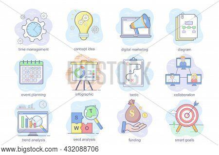 Business Planning Concept Flat Icons Set. Bundle Of Time Management, Digital Marketing, Event Planni