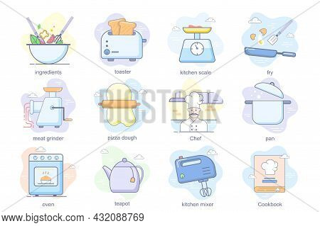 Cooking Concept Flat Icons Set. Bundle Of Ingredients, Toaster, Kitchen Scale, Pizza Dough, Chef, Pa