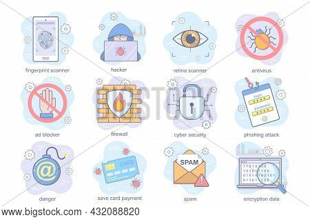 Cyber Security Concept Flat Icons Set. Bundle Of Fingerprint Or Retina Scanner, Hacker, Antivirus, B