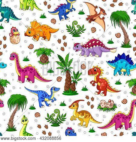 Cute Dinosaur Pattern. Dino Surface, Kids Textile Fashion Print. Animals Childhood Background. Carto