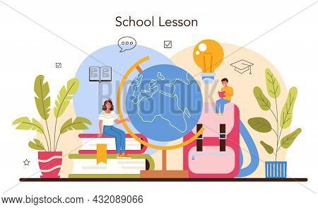 Teacher Concept. Professor Giving A Lesson In A Classroom. School