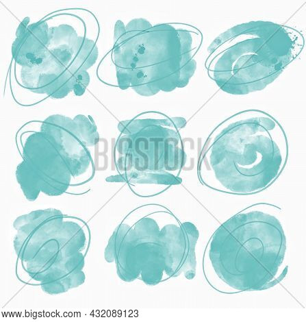 Set of watercolor speech bubbles, simple border, brush stroke and stain in mint color, isolated on white background