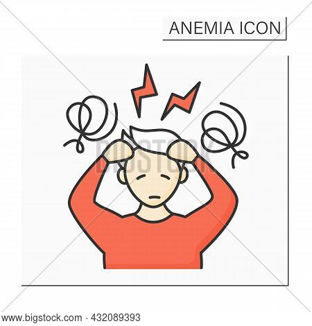 Anemia Color Icon. Disease Symptoms.extreme Fatigue, Weakness. Dizzy, Headache. Health Protection Co