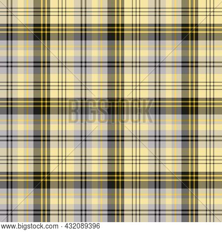Seamless Pattern In Yellow, Black And Gray Colors For Plaid, Fabric, Textile, Clothes, Tablecloth An