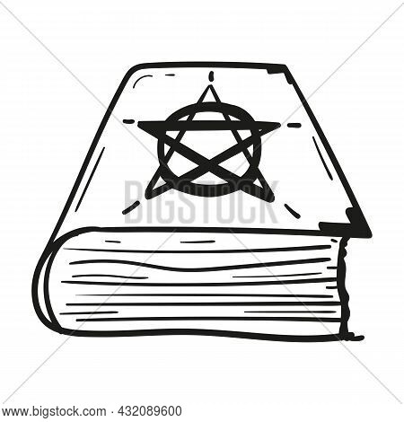 Hand Drawn Spell Book Icon In Doodle Style Isolated.