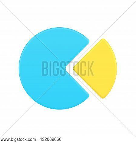 Realistic Pareto Pie Chart 3d Icon. Blue Circle Is 80 Percent Business Achievement