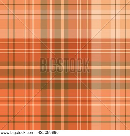 Seamless Pattern In Orange Colors For Plaid, Fabric, Textile, Clothes, Tablecloth And Other Things.