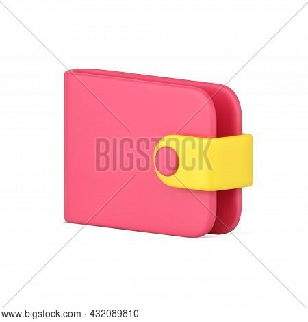 Pink Wallet 3d Icon. Shopping Purse For Storing And Carrying Banknotes