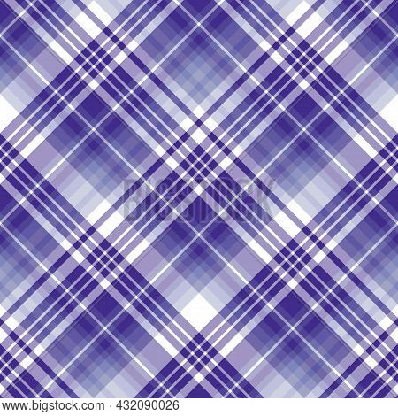 Seamless Pattern In Violet And White Colors For Plaid, Fabric, Textile, Clothes, Tablecloth And Othe