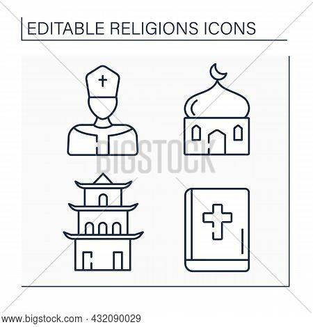 Religious Line Icons Set.main Religious Symbols. Leader Of Catholic Church, Bible, Islam And Taoism