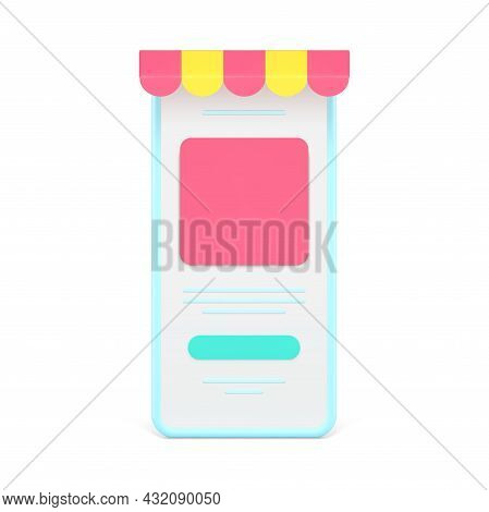 Online Store In Mobile Application 3d Icon. Smartphones With Colored Awnings And Web Menu