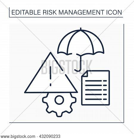 Risk Register Line Icon. Documentary Used As Risk Management Tool. Repository For All Identified Ris