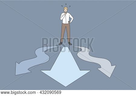 Business Choice And Opportunities Concept. Young Businessman Worker Standing On Crossroads With Ways