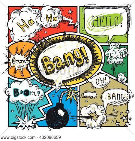 Comic Speech Humor Funny Cartoon Bubble Sketch Design Background Vector Illustration