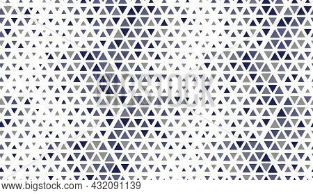 Abstract Geometric Pattern. Seamless Vector Background. White And Blue Halftone. Graphic Colored Pat