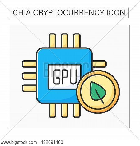 Gpu Color Icon. Graphics Processing Unit. Electronic Circuit Added Alter Memory. Manipulating Comput