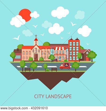 City Summer Street Urban Town Scape Abstract Background Vector Illustration