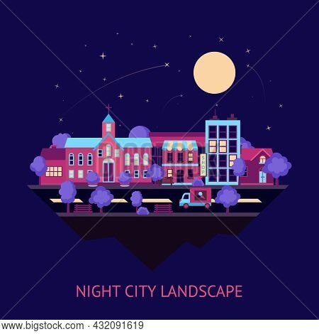 City Night Summer Colorful Street Scape Buildings Abstract Background Vector Illustration