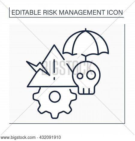 Critical Risks Line Icon. Threats Or Hazards That Pose Strategically Significant Risk.business Conce