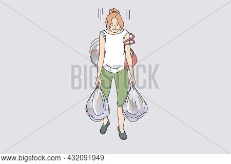 Carrying Heavy Bags Tiredness Concept. Young Exhausted Tired Woman Cartoon Character Going Carrying